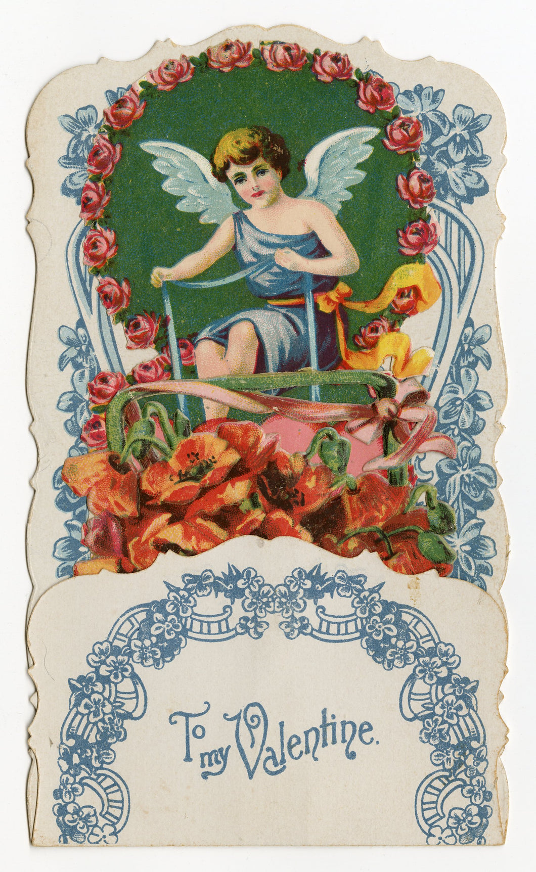 Antique POPUP 1910's-1920's VALENTINE Card || Cupid Holding Two Hearts with Ribbon