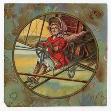 Load image into Gallery viewer, Edwardian Girl Piloting Airplane, Illustration, Scrap Piece || Early Aviation