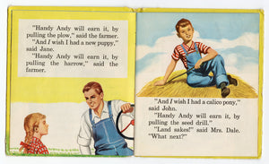 1953 HANDY ANDY Tell-a-Tale Children's Picture Book || Farm, Tractor