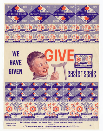 1957 Help Crippled Children EASTER SEALS, Poster Stamps || Unused Sheet
