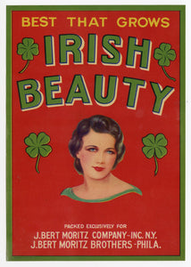 Unused Irish Beauty Fruit, Vegetable Crate Label || St. Patrick's Day
