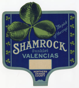 Unused Sunkist Shamrock Valencia Orange Crate Label || Orange County, CA.