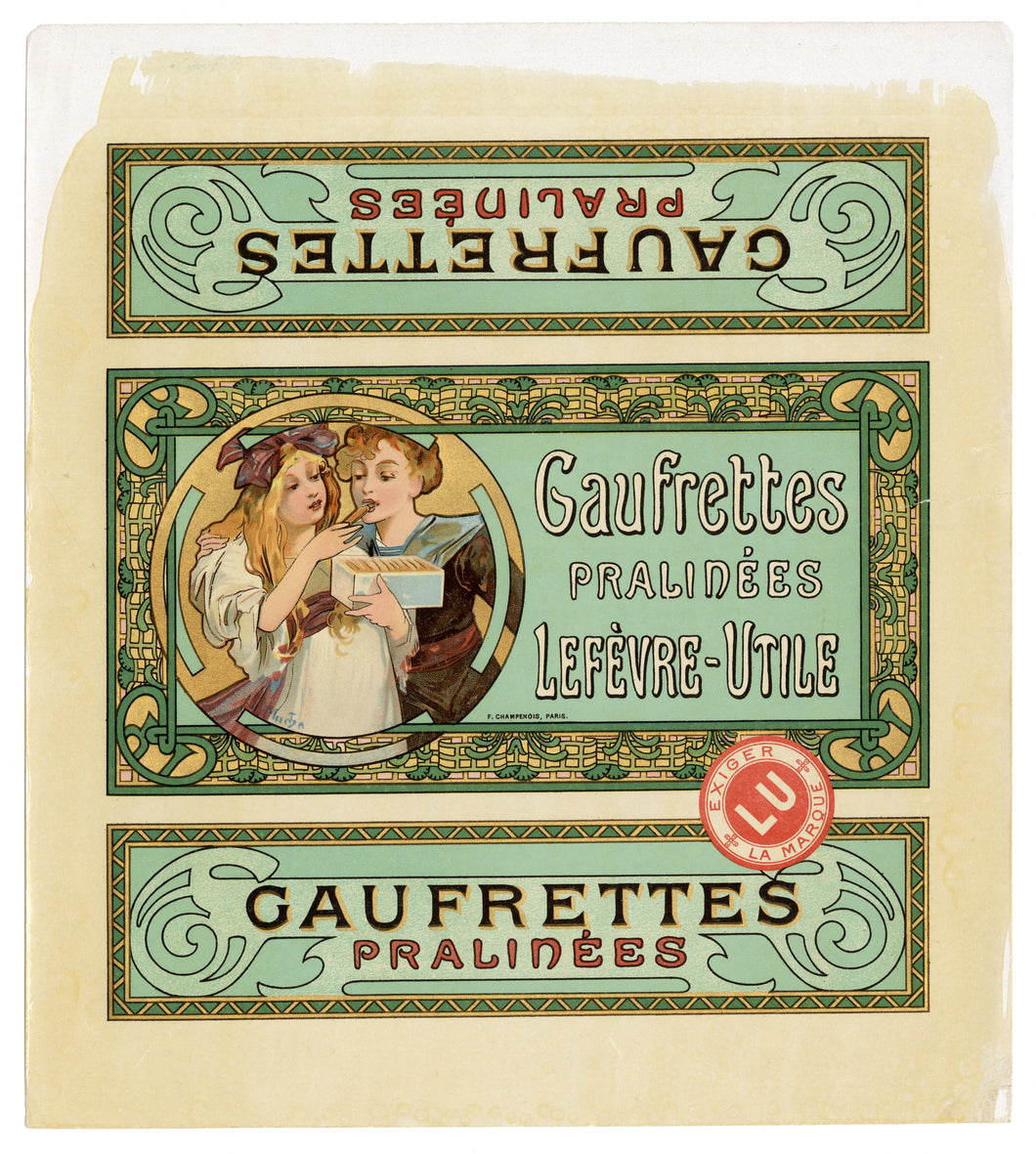 Rare ART NOUVEAU Lefevre-Utile Biscuit Label Illustrated by MUCHA