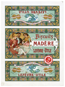 Rare Art Nouveau Lefevre-Utile Biscuits Madere Label Illustrated by Alphonse Mucha