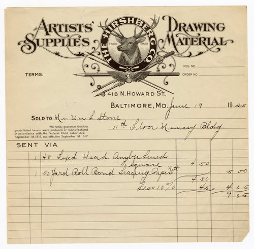 1925 Billhead, Artist's Supplies & Drawing Materials || Baltimore, Maryland