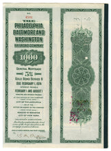 Load image into Gallery viewer, 1918 Philadelphia Baltimore Railroad Company Stock Certificate