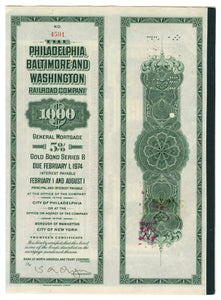 1918 Philadelphia Baltimore Railroad Company Stock Certificate