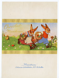 Vintage Unused Maestrani Swiss Chocolate Label || Easter Bunnies