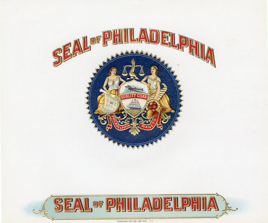 Antique, Unused SEAL OF PHILADELPHIA Cigar, Tobacco Label || Gold, Embossed