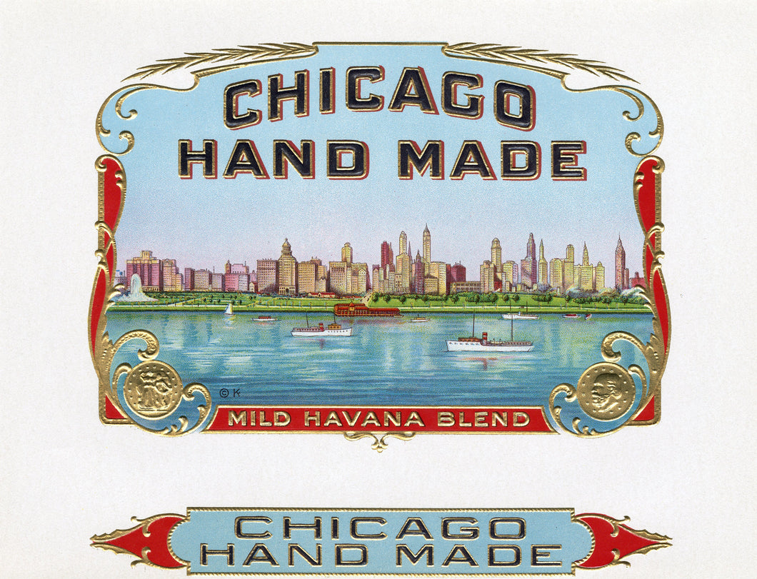 Antique, Unused CHICAGO HANDMADE Cigar, Tobacco Label || Gold, Embossed