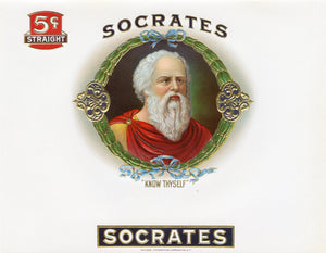Antique Unused SOCRATES Cigar, Tobacco Label || Gold, Embossed