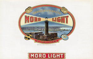 Antique Unused MORO LIGHT Cigar, Tobacco Label || Gold, Embossed