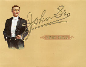 Antique Unused JOHN SR. Cigar, Tobacco Label || Gold, Embossed, Gentleman