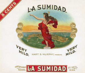 Antique Unused LA SUMIDAD Cigar, Tobacco Label || Gold, Embossed