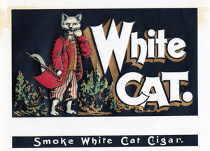 Antique Unused WHITE CAT Cigar, Tobacco Label || Gold, Embossed