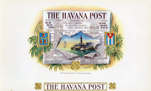 Antique Unused THE HAVANA POST Cuban Cigar, Tobacco Label || Gold, Embossed, Newspaper