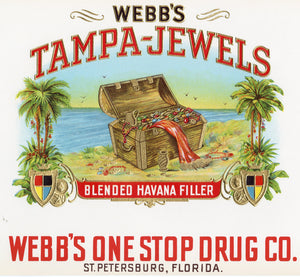 Antique, Unused WEBB'S TAMPA JEWELS Cigar, Tobacco Label || Gold, Embossed