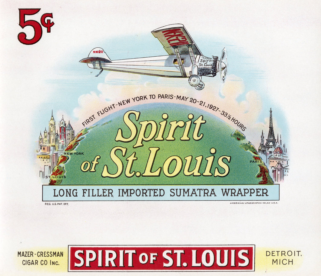 Antique Unused SPIRIT OF ST. LOUIS Cigar, Tobacco Label || Lindbergh, Plane