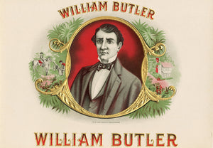Antique Unused WILLIAM BUTLER Cigar, Tobacco Label || Gold, Embossed