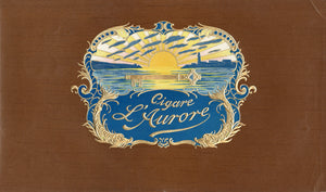 Antique Unused French CIGARE L'AURORE Cigar Label || Embossed, Sunset