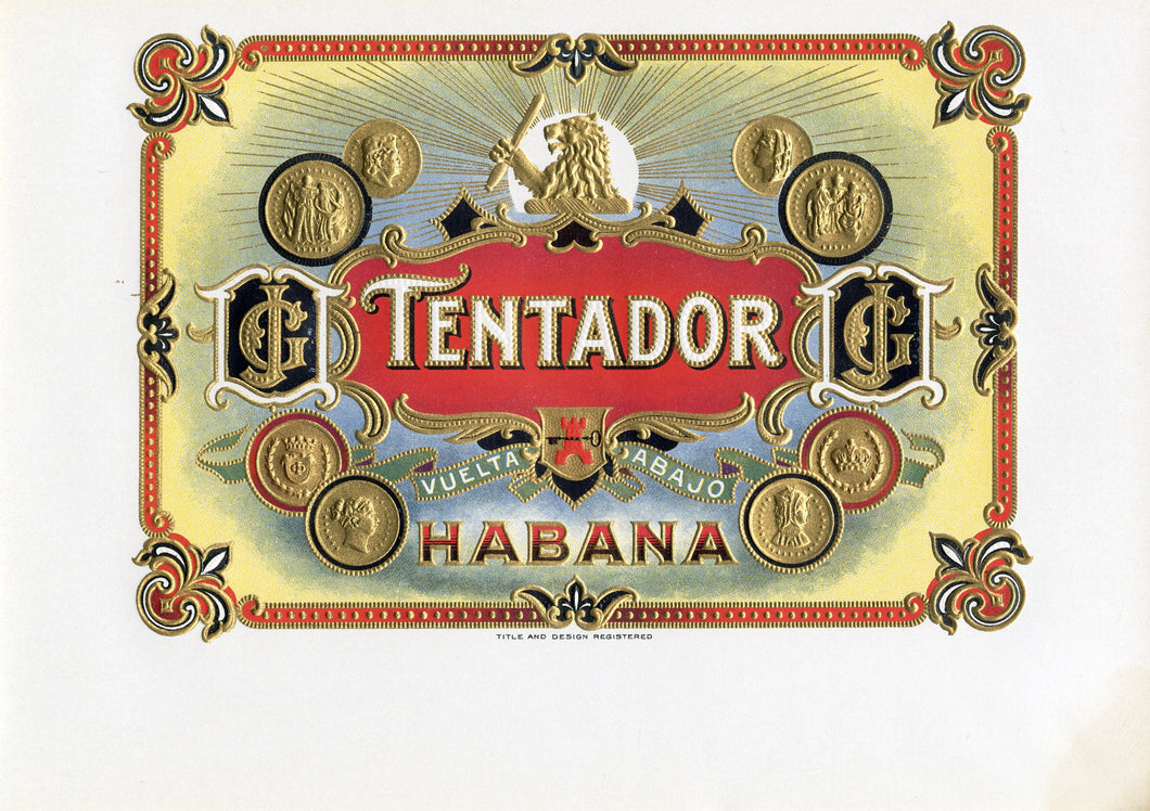Antique Unused TENTADOR Cuban Cigar, Tobacco Label || Gold, Embossed