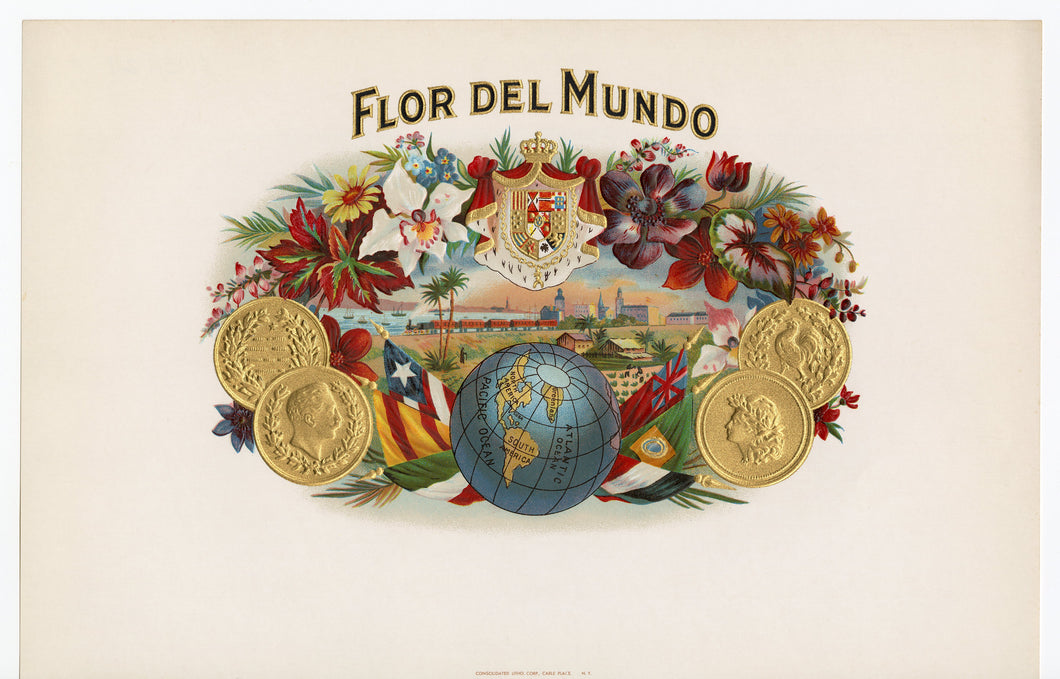 Antique Unused FLOR DEL MUNDO Cigar, Tobacco Label || Gold, Embossed, Flowers