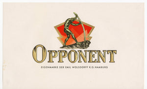 Antique Unused OPPONENT German Cigar, Tobacco Label || Gold, Embossed