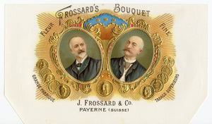 Antique Unused FROSSARD'S BOUQUET French Cigar, Tobacco Label || Gold, Embossed