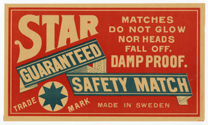 Antique, Unused Star Safety Match Label || Damp Proof