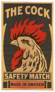 Antique, Unused The Cock Safety Match Label || Chicken, Rooster