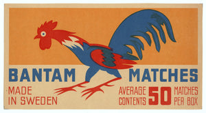 Antique, Unused Bantam Safety Match Label || Chicken
