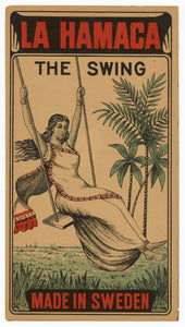 Antique, Unused La Hamaca, The Swing Safety Match Label || Woman on Swing