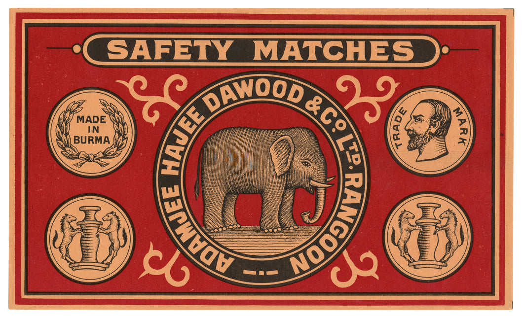 Antique, Unused Burma Made Safety Match Label || Elephant
