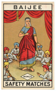 Antique, Unused Baijee Safety Match Label, Wimco || Indian Dancing Girl