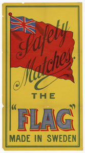 "Antique, Unused The ""Flag"" Safety Match Label 