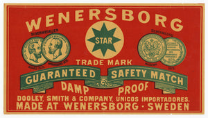 Antique, Unused Wenersborg Star Safety Match Label