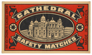 Antique, Unused Cathedral Safety Match Label