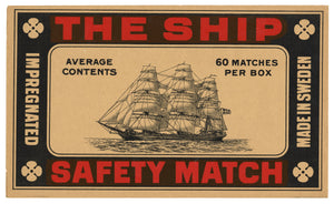 Antique, Unused The Ship Safety Match Label || Tall Ship with Sails