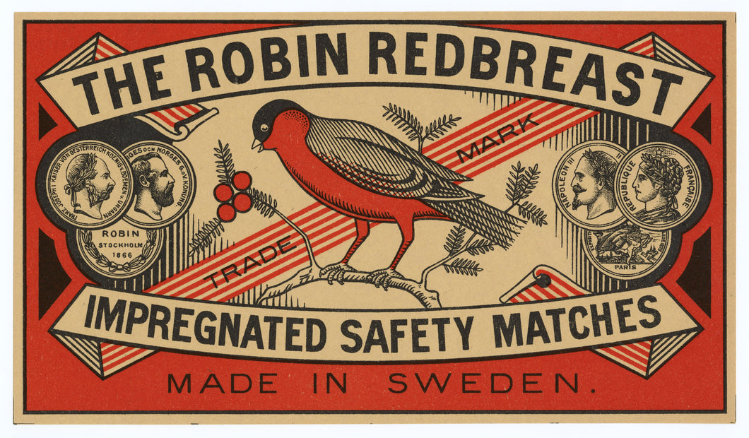 Antique, Unused The Robin Redbreast Safety Match Label || Bird