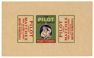 "Antique, Unused Pilot Safety Match Label || ""Made by British Work People"""