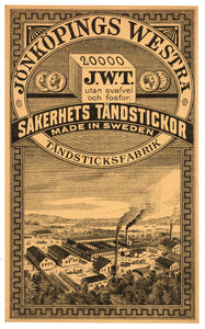 Antique, Unused Jonkopings Westra Safety Match Label || Factory, Sweden