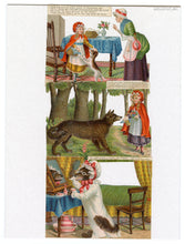 Load image into Gallery viewer, Die-cut Victorian LITTLE RED RIDING HOOD Picture Story Cards, Full Set of Six Cards