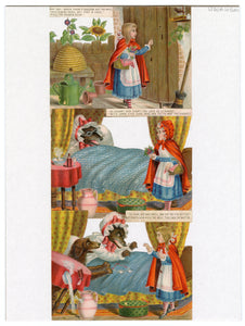 Die-cut Victorian LITTLE RED RIDING HOOD Picture Story Cards, Full Set of Six Cards