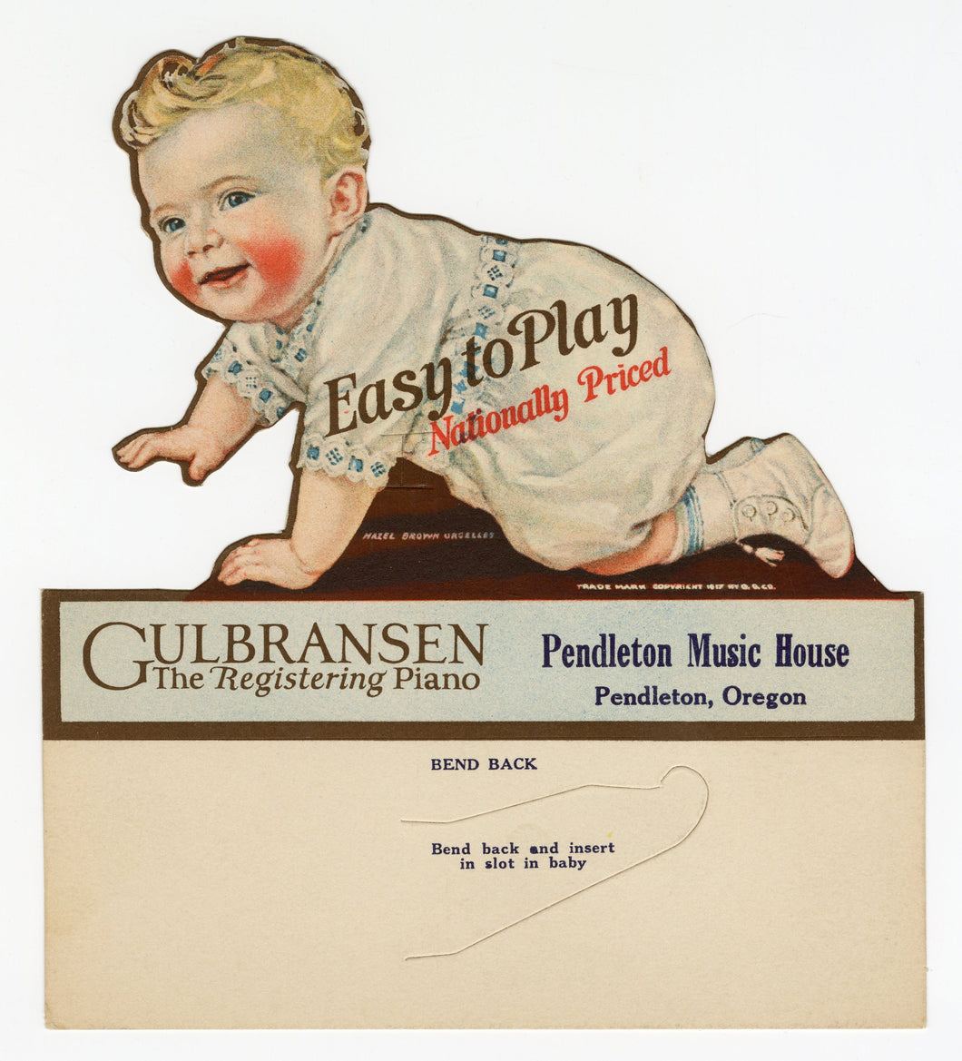 1917 Gulbransen Registering Piano Advertising Display || Pendleton, Oregon