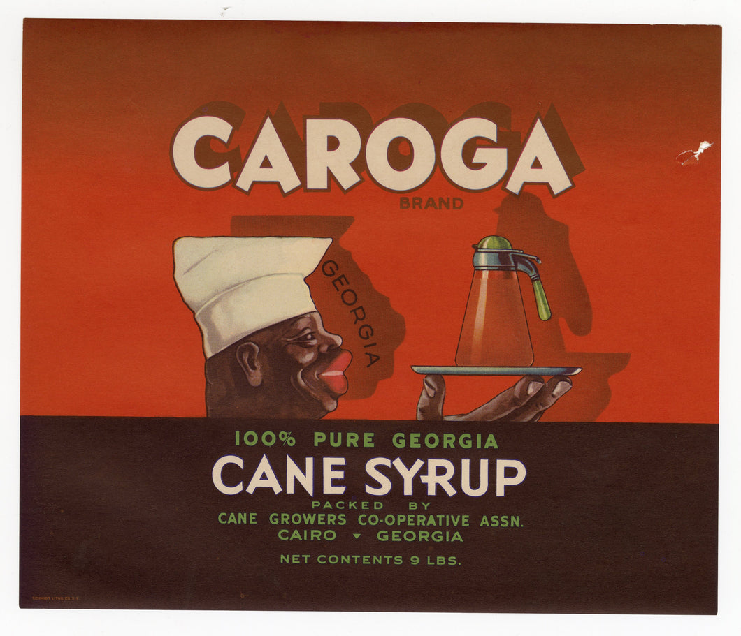 1930's Caroga Georgia Corn Syrup Unused Label || Cairo, Georgia, Black Chef