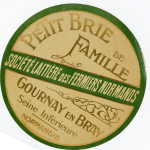 Antique Unused French Petit Brie de Famille, Brie Cheese Label, Normandy
