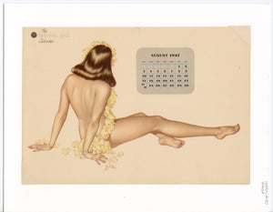 August 1947 Vintage Esquire Girl Calendar, Varga Pinup Girl, Matted Print