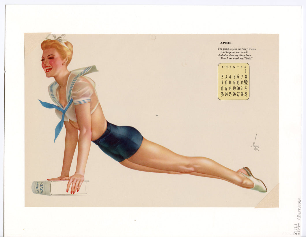 April 1947 Vintage Esquire Girl Calendar, Varga Pinup Girl, Matted Print