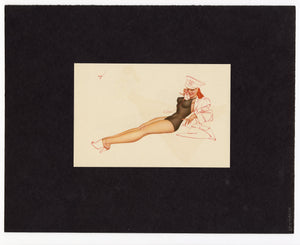 Vintage 1940's George Petty Matted Pinup Girl Print