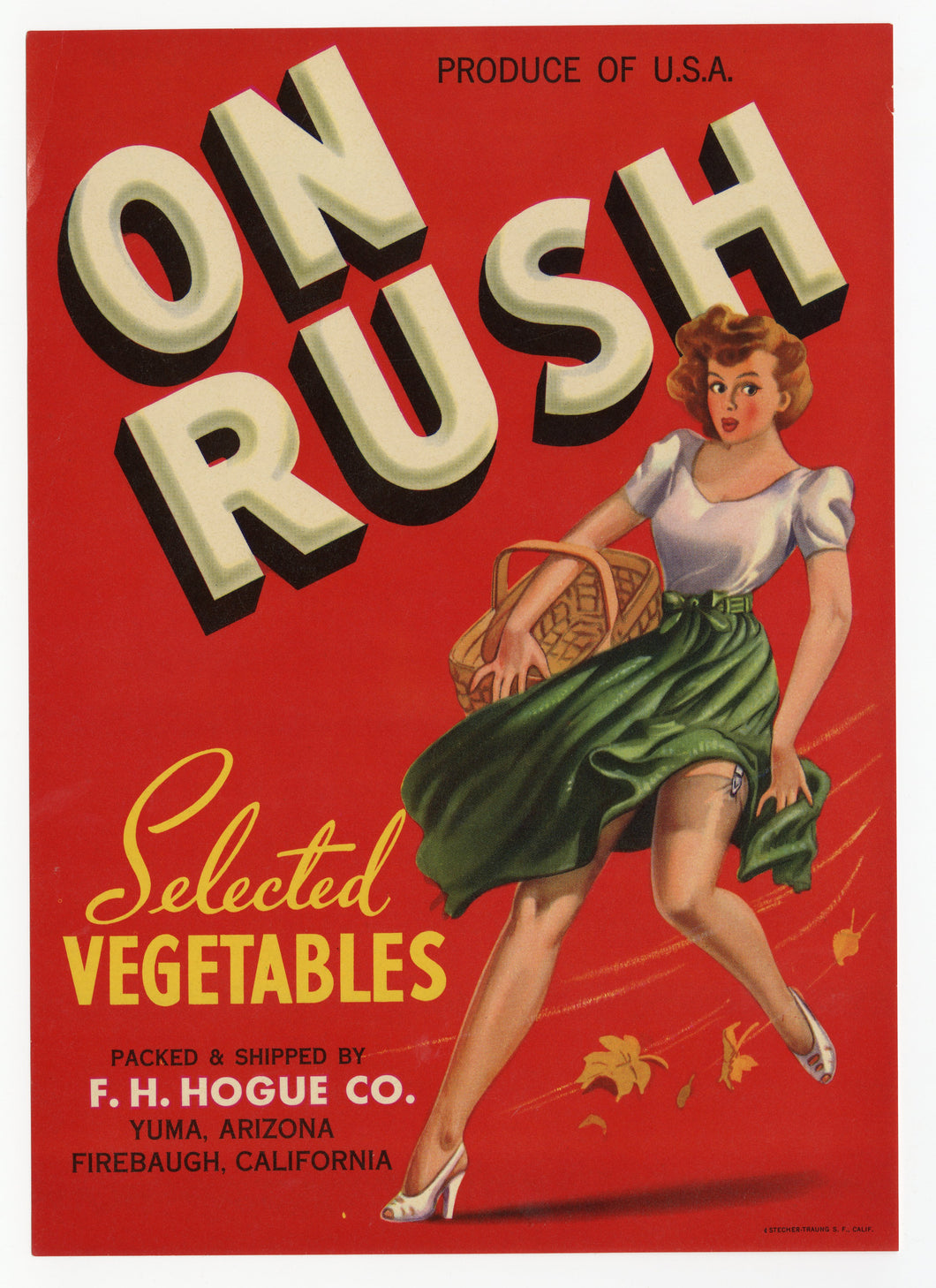 Vintage, Unused ON RUSH Vegetable Crate Label, Pinup || Yuma, Arizona